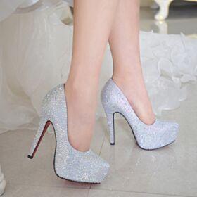 Con Purpurina Zapatos Mujer Plateados Plataforma Zapatos De Fiesta Tacon Alto