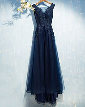 Wedding Guest Dress Long Appliques Prom Dresses Lace Sleeveless With Train Evening Dresses Open Back