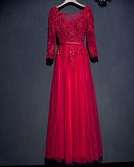 Robe Mère De Mariée Robe De Soirée Appliques Perlage Belle Robe Invite De Mariage Longue Manche Longue Dentelle Décolleté Rouge