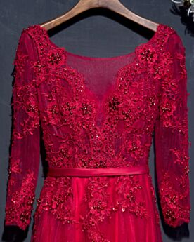 Brautmutterkleid Tiefer Ausschnitt Hochzeitsgäste Kleider Rückenfreies Elegante Empire Abendkleid Spitzen Lange Ärmel Applikationen Rot