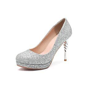 Tacco A Spillo Decoltè Glitter 10 cm Tacco Alto Scarpe Da Cerimonia Scarpe Da Sposa Argento