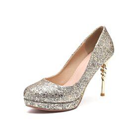 Decolte Scarpe Cerimonia Tacco A Spillo Tacco Alto 10 cm Argento Glitter