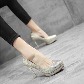 Ronde Neus Glitter Trouwschoenen Zilveren Stiletto Hoge Hakken Feestschoenen Sparkle Pumps