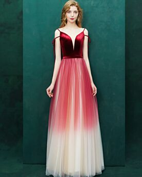 Spaghettiträger Tiefer Ausschnitt Elegante Farbverlauf Empire Abendkleid Ballkleid Festliche Kleider Rot Lange Samt
