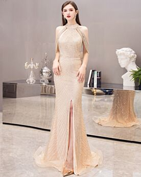 Festliche Kleider Abendkleider Luxus Rückenfreies Glitzernden Galakleid Mit Schlitz Meerjungfrau Pailletten