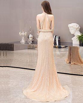 Licou Paillette Dos Nu Col Haut Robe Habillée Sirène Robe Soirée Brillante Luxe