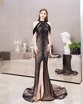 Sirène Paillette Fendue Longue Robe Gala Luxe Noir Scintillante Robe De Fête Dos Nu Col Haut
