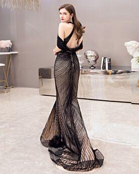 Glitzernden Ärmellos Meerjungfrau Luxus Rückenfreies Neckholder Pailletten Schwarze Partykleider Roter Teppich Kleider Hochgeschlossene Abendkleider