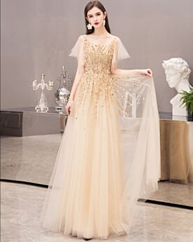 Tulle Beading Sparkly Cute Christmas Party Dress A Line Sequin Empire Formal Evening Dresses