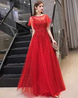 Princess 2020 Sequin Tulle Red Long Prom Dress Formal Evening Dresses Cute Sparkly