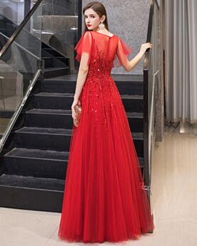 Brillante Chic Perlage Robe De Soirée Rouge Princesse Sequin Empire Robe De Bal