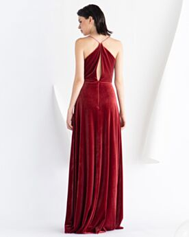 Empire Open Back Wedding Guest Dresses Velvet Long Burgundy Vintage Spaghetti Strap Formal Dresses Simple