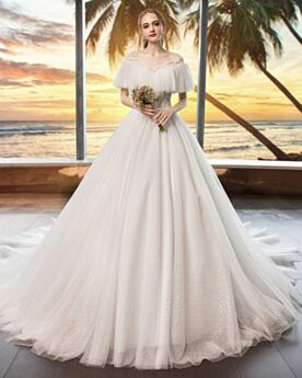 Scollo A Barca Maniche Corte Glitter Avorio Tulle Schiena Scoperta Luccicante Vestiti Da Sposa