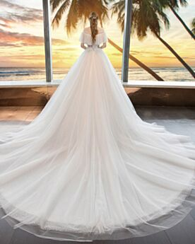 Sparkly With Train Glitter Off The Shoulder Tulle Wedding Dresses