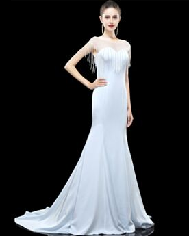 Charming Transparent Satin Scoop Neck Long Formal Evening Dress Simple Cute Out Sweetheart Light Blue