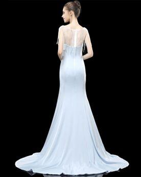 Ärmellos 2020 Elegante Rückenausschnitt Transparentes Cut Out Abendkleid Schlichte Hellblau Lange Perlen Meerjungfrau