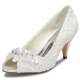 Elegantes Zapatos De Novia Peep Toe Zapatos Mujer Tacon Medio Stilettos Con Encaje