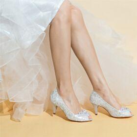 Con Strass Fiore 7 cm Tacco Medio Eleganti Pizzo Tacco A Spillo Decolte Scarpe Da Sposa
