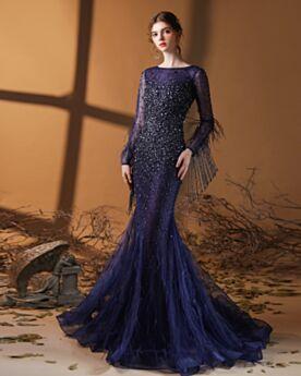 Robe De Bal Longue Perlage Manche Longue Bleu Marine Luxe Dos Nu Brillante Paillette Robe De Soirée Sirène Col Bateau