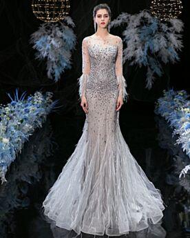 Sirena Vestiti Gala Abiti Cerimonia Luccicante Schiena Scoperta Lunghi Con Frange Argento Paillettes Bellissimi Con Piume