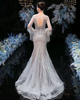 Meerjungfrau Perlen Konfirmationskleider Lange Ärmel Feder Kristall Galakleider Pailletten Rückenausschnitt Abendkleid Silber Glitzernden