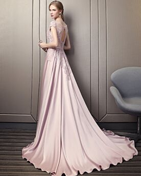Formal Evening Dress Elegant Lace Blush Pink Open Back Satin