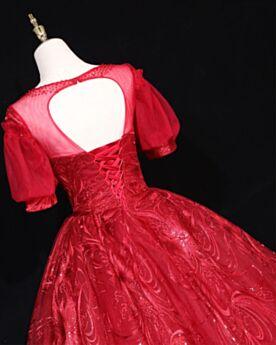 Tüll Burgunderrot Quinceanera Kleid Ballkleid Rückenfreies Konfirmationskleider Spitzen Lange Kleider Für Festliche Elegante Prinzessin