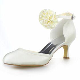 Brautschuhe Mittel Heels Weiß Knöchelriemen Stilettos Brautjungfer Schuhe Stöckelschuhe