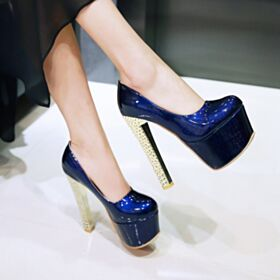 Over 5 inch Pumps Stilettos Patent High Heels Platform Royal Blue