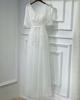 Rückenausschnitt Spitzen Empire Perlen Abendkleider Abschlussballkleider Lange Tüll Tiefer Ausschnitt Elegante Festliche Kleider