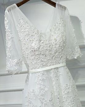 Bianco Tulle Eleganti Abiti Da Cerimonia Lungo Impero Abito Da Sera