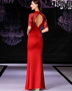 Rückenfreies Lange Halbe Ärmel Spitzen Etui Satin Hochgeschlossene Abendkleider Rot Brautmutterkleider