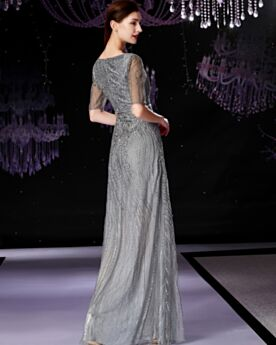 Brautmutterkleid Glitzernden Grau Pailletten Partykleider Abendkleid Spitzen