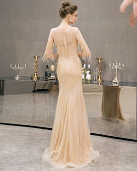 Sheath Sparkly Sequin Tulle Formal Evening Dresses Half Sleeve Prom Dresses Champagne Bohemian