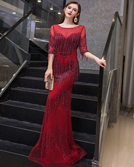 Vestidos De Noche De Tul Vestidos Para Prom Largos Primavera Brillantes De Lentejuelas Vino