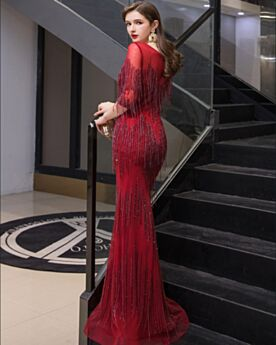 Long Prom Dress Beaded Sheath Sparkly Sequin Formal Dresses Burgundy Bohemian