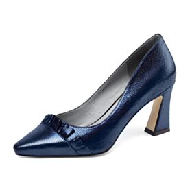 Office Shoes Pumps Shoes Chunky Heel Leather Fashion Dark Blue 3 inch High Heel