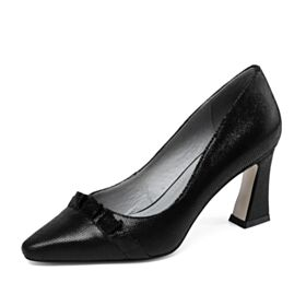Tacones Altos 8 cm Modernos Zapatos Mujer Tacon Ancho Charol Negros Con Volantes
