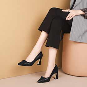 Ruffle High Heel Pointed Toe Fashion Going Out Shoes Pumps Black Work Shoes