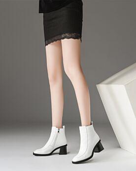 Bottines Fourrées Cuir Bout Rond 6 cm Talon Mid Blanche Chaussures Travail Classique Chelsea