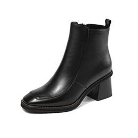 Stiefeletten Business Schuhe Damen Schwarz Leder Winter Chelsea Boots Runde Zeh Chunky Heel