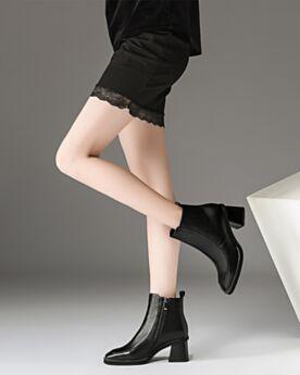 Chelsea Bout Rond Noir Fourrées Chaussures Travail Bottines Cuir Classique Vernis