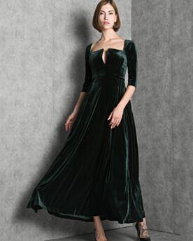 Knöchellänge Modest Samt Halbe Ärmel Brautmutterkleid Tiefer Ausschnitt Abendkleider Dunkelgrün A Linie Kundengerecht