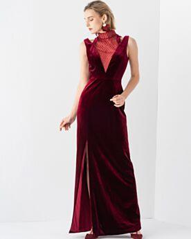 Elegante Burgunderrot Empire Samt Abendkleider Brautmutterkleid Schulterfreies Lange