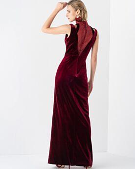 De Terciopelo Color Burdeos Cuello Alto Vintage Vestidos De Noche Hombros Descubiertos Largos Vestidos De Madrina De Boda Elegantes