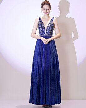 Long Sequin Formal Evening Dresses Prom Dress Open Back Royal Blue Beading Plunge Glitter