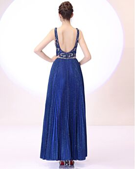 Long Sequin Formal Evening Dresses Prom Dress Open Back Royal Blue Beading Plunge Glitter