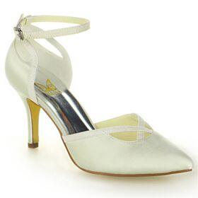 8 cm Talons Hauts Bout Pointu Chaussure Mariée Bride Cheville Sandales Satin Ivoire