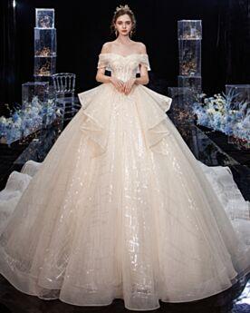 Glitzer Hochzeitskleider Applikationen Glitzernden Off Shoulder Rückenausschnitt Schößchen Kurzarm Herrlich Lange Elegante