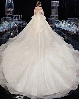 Open Back Glitter Short Sleeve Wedding Dresses Off The Shoulder Ball Gown Champagne Sparkly Long Peplum